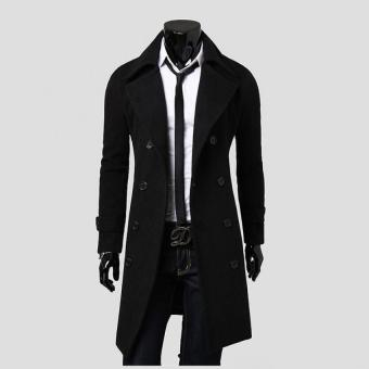 Long Double Breasted trench Coat Men Slim Fashion Leisure Coat -intl