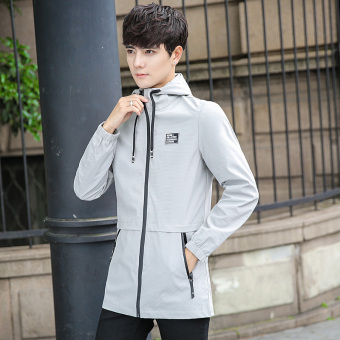 Long paragraph men Slim fit Teenager hooded jacket (Gray)