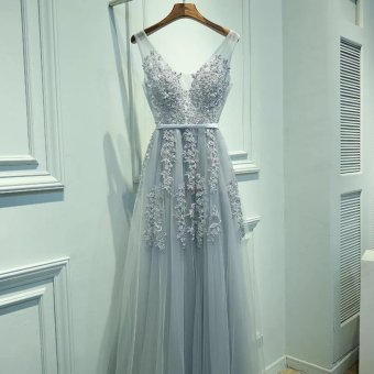 Long term Bride Bridesmaid Dress banquet gown bride toast silver gray - intl Price Philippines