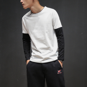 LOOESN autumn New style handsome long-sleeved t-shirt (White)