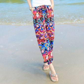 LOOESN Bohemian Plus-sized printed thin pants lantern pants (1605 [Doll face])