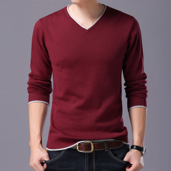LOOESN casual cotton solid color small base shirt T-shirt (Wine red color 216 long-sleeved v-neck)
