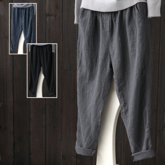 LOOESN casual linen spring New style long pants cotton linen women's pants (Gray)