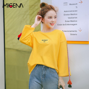 LOOESN cotton female autumn round neck yellow Top T-shirt