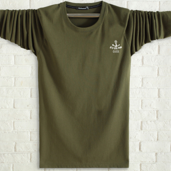 LOOESN cotton Plus-sized round neck middle-aged heattech T-shirt (Dark green color)