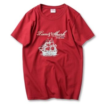 LOOESN cotton Plus-sized T-shirt (Wine red color Grand Boat)