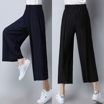 LOOESN elastic waist Plus-sized high-waisted pants ankle-length pants (Dark blue 8 points pants)