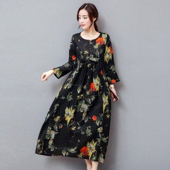 LOOESN European and American cotton linen autumn New style autumn dress