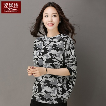 LOOESN Korean-style camouflage New style Spring and Autumn Top autumn T-shirt
