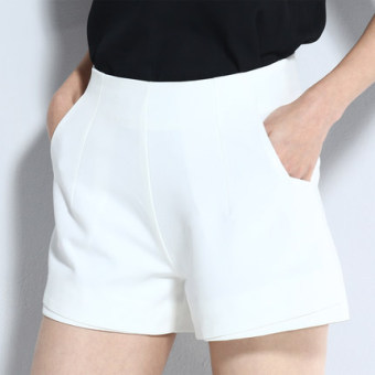 LOOESN Korean-style chiffon Female Summer black shorts (White)