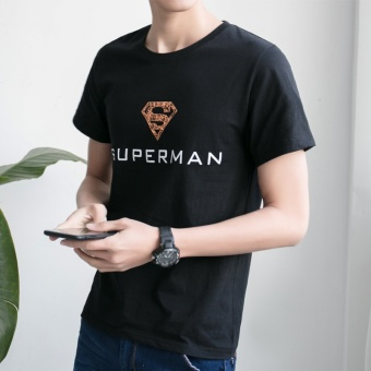 LOOESN Korean-style cotton round neck Teenager T-shirt (Black Superman)