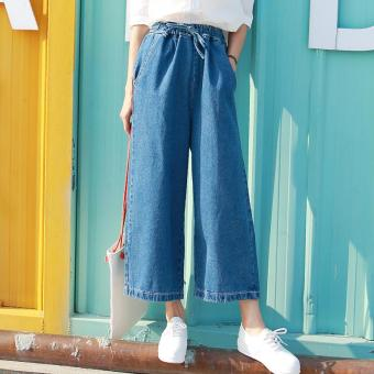 LOOESN Korean-style cowboy female student dress culottes high-waisted wide leg pants (Deep cowboy blue)