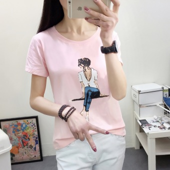 LOOESN Korean-style female high school students Plus-sized Top T-shirt (2330 (pink) sitting girl's)