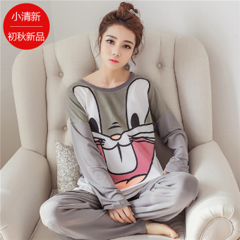 LOOESN Korean-style female long-sleeved tracksuit pajamas (Big eyes gray bugs bunny)