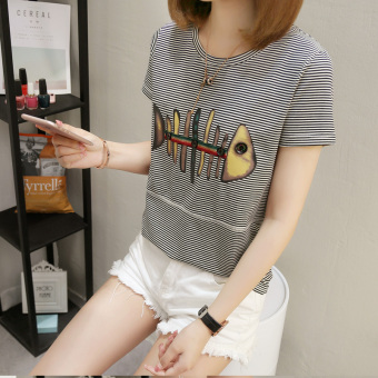 LOOESN Korean-style female New style printed Top T-shirt