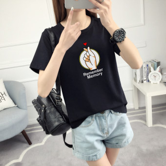 LOOESN Korean-style female Short sleeve student Top T-shirt (506-black)