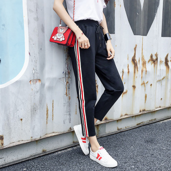 LOOESN Korean-style female spring student versatile casual pants New style sports pants (S17911 multi-color RIBBON)