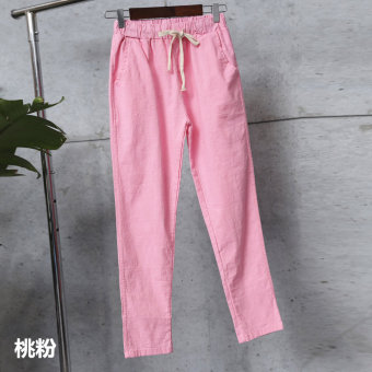 LOOESN Korean-style slimming Plus-sized casual pants cotton linen pantyhose pants (Peach Powder)