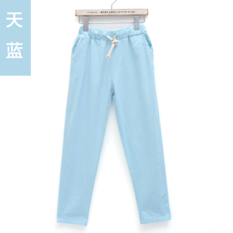 LOOESN Korean-style slimming Plus-sized casual pants cotton linen pantyhose pants (Sky blue color)