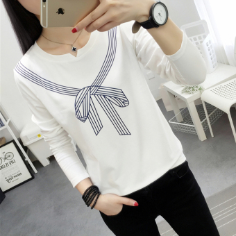 LOOESN Korean-style Spring and Autumn New style Cooljie base shirt T-shirt (White)