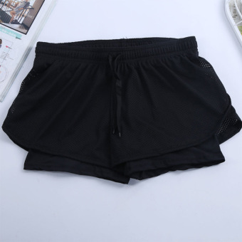 LOOESN lined with female running anti-shorts I shorts (Black)
