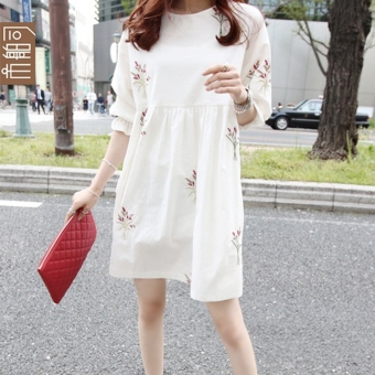 LOOESN Mori girl series cotton linen autumn half-sleeve shirt dress