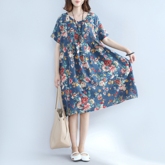 LOOESN national style short sleeved Plus-sized dress Suihua dress Price Philippines