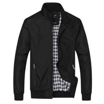 XINGLITA Men's Business Loose Stand-up Collar Jacket Black Black
