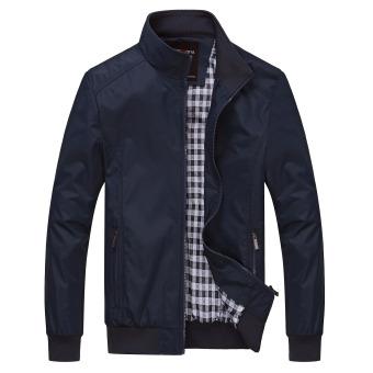 XINGLITA Men's Business Loose Stand-up Collar Jacket Dark blue color Dark blue color