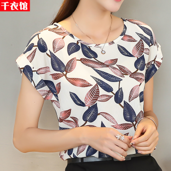 Loose color short-sleeved female Slimming effect small shirt chiffon shirt (B5 # And white leaves)
