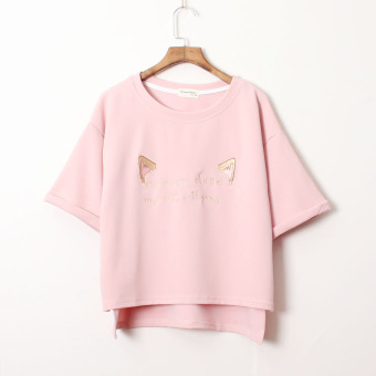 Loose cute female round neck Plus-sized lo Shi Top embroidered short-sleeved t-shirt (Lotus color)