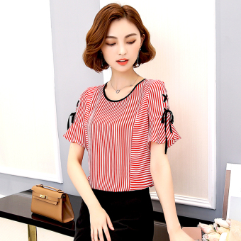 Loose female Slimming effect striped Top horn sleeve chiffon shirt (Red)