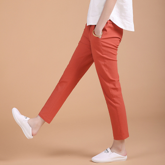 Loose high-waisted stretch pants feet casual pants (Rust Hong) (Rust Hong)