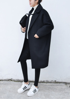 Loose Korean-style cocoon mid-length thick woolen coat (Black)