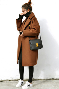 Loose Korean-style cocoon mid-length thick woolen coat (Light Brown)