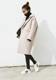 Loose Korean-style cocoon mid-length thick woolen coat (Off-white color)