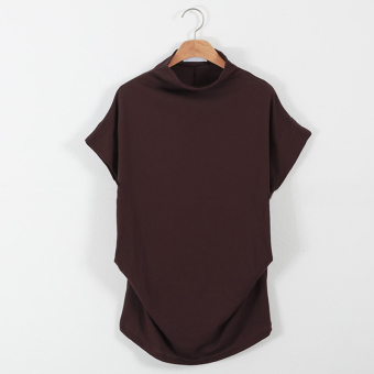Loose Korean-style cotton New style Plus-sized T-shirt (Wine red color)