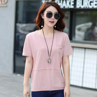 Loose Korean-style cotton solid color summer T-shirt Top (Pink color)