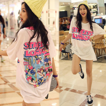 Loose Korean-style cotton summer letter white short-sleeved t-shirt (Black)