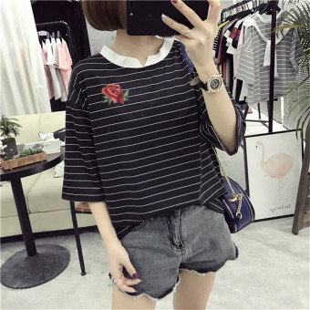 Loose Korean-style female slimming V-neck Top Striped short sleeved t-shirt (8317 * Black) (8317 * Black)
