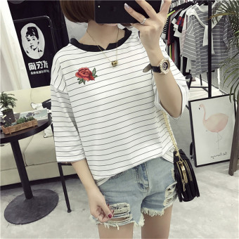 Loose Korean-style female slimming V-neck Top Striped short sleeved t-shirt (8317 * white) (8317 * white)