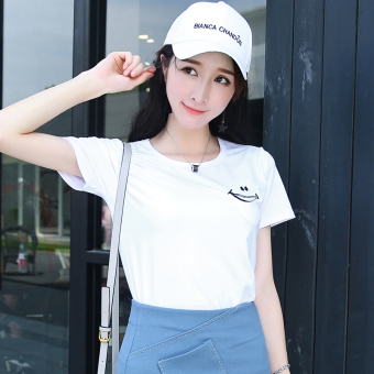 Loose Korean-style female student Short sleeve Top solid color short sleeved t-shirt (White) (White)