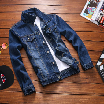 Loose Korean-style men Teenager long-sleeved jacket denim jacket (Cat to be blue)