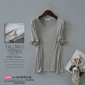 Loose Korean-style modal solid color summer T-shirt (Light gray color)