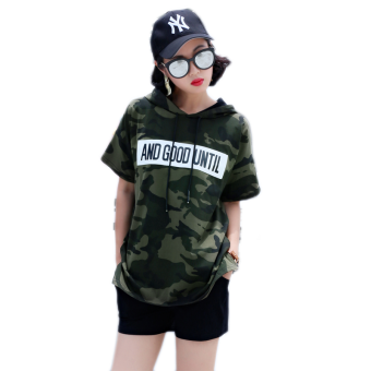 Loose Korean-style New style camouflage Print Plus-sized T-shirt (Green)