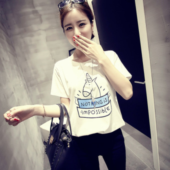 Loose Korean-style New style round neck short-sleeved shirt bottoming T-shirt