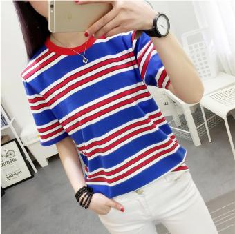 Loose Korean-style New style student style Striped short sleeved t-shirt female Top (Blue) (Blue)