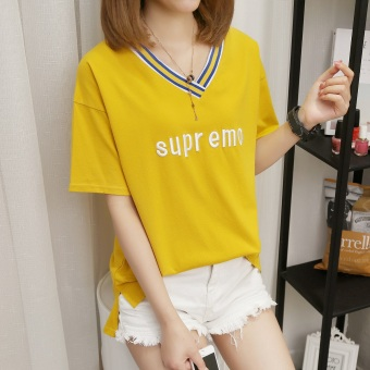 Loose Korean-style short-sleeved t-shirt (Yellow)