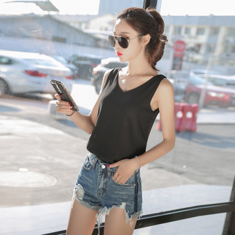 Loose Korean-style white female spring and summer sleeveless Top chiffon strap vest (V-neck black) (V-neck black)