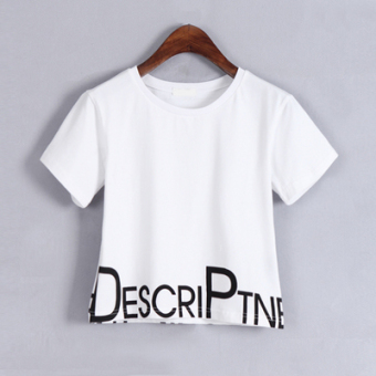 Loose Korean-style white female student high waisted Top short paragraph T-shirt (White)